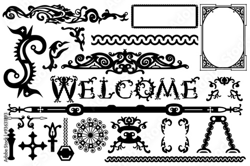 Detailed vintage vector elements in a gothic Halloween style: font ...