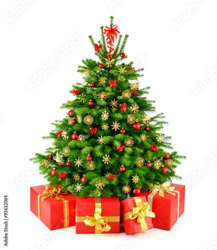 weihnachtsbaum mit strohsternen und geschenken - kaufen