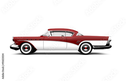 Poster Vintage voitures Retro red and white car