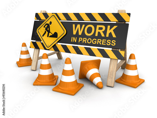 Fotografía  Work in progress sign. Image with clipping path