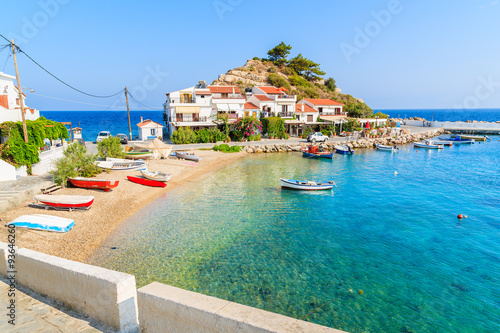 Photo Stands Cyprus A view of Kokkari fishing village with beautiful beach, Samos island, Greece