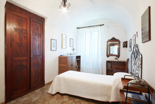 Old, Single Bedroom In Ancient Italian House