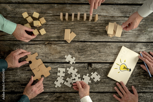 Fototapeta Concept of teamwork, strategy, vision or education obraz
