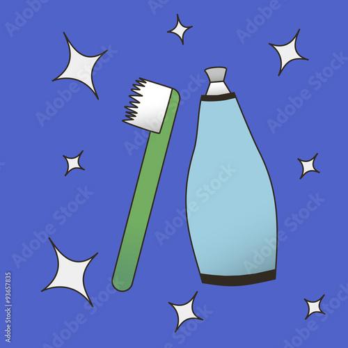 Fotografie, Obraz  Dental Care: toothbrush, toothpaste