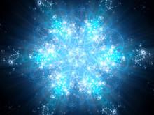 Blue Glowing Snowflake Fractal Artwork