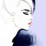 Piękna twarz. portret kobiety. streszczenie akwarela. moda tło - 93670496