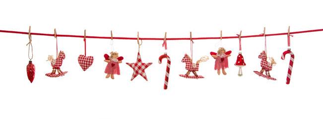 FototapetaIsolierte freigestellte Dekoration zu Weihnachten in rot weiß kariert auf Hintergrund.
