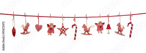 Isolierte freigestellte Dekoration zu Weihnachten in rot weiß kariert auf Hintergrund. - 93672475
