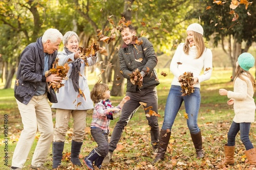 Fotografie, Obraz  Happy extended family throwing leaves around