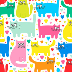 Fototapeta Kot Vector seamless pattern with colorful cats. Funny cats and hearts. Cartoon hand drawn pattern for children. Bright colors on white background.