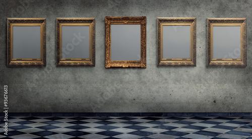Fotografie, Obraz  Leere Bilderrahmen an einer Wand