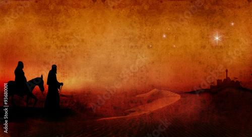 Fotografie, Obraz  mary and joseph across desert 3