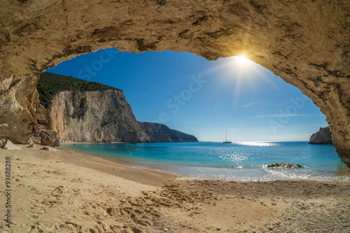 fototapeta na lodówkę Beautiful summer white Porto Katsiki beach on Ionian Sea Lefkada