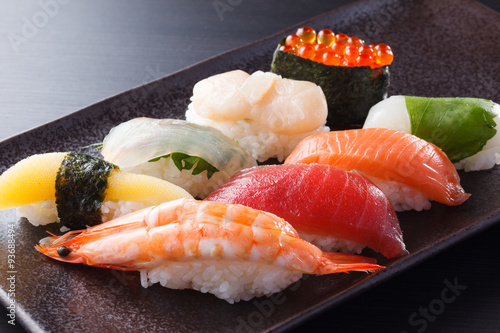 Printed kitchen splashbacks Sushi bar にぎり寿司の盛合せ