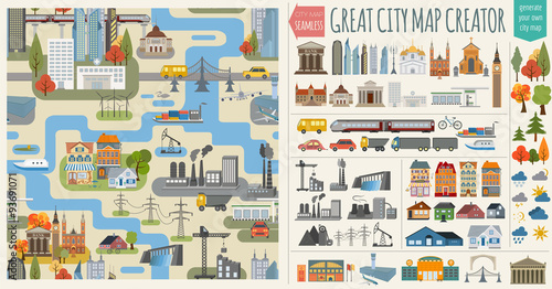 Основные RGBGreat city map creator.Seamless pattern map