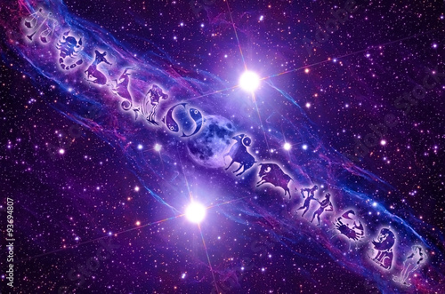 Photo  zodiac signs and Moon over mystical Universe with flares and stars in blue and p