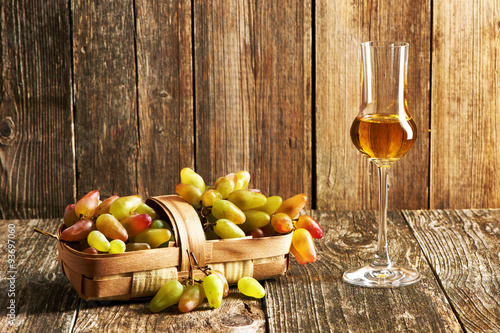 Fresh grapes and grappa Wallpaper Mural