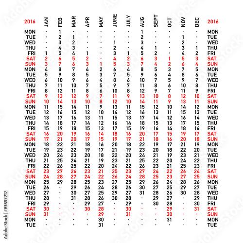 Fototapeta Vertical calendar 2016. Week starts Monday. obraz na płótnie
