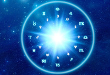 Astrological Chart With Zodiac...