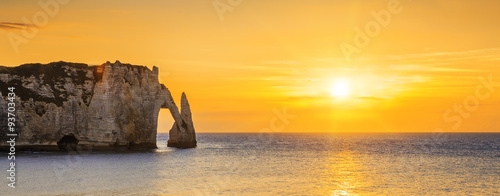 Etretat Aval cliff at sunset Canvas Print