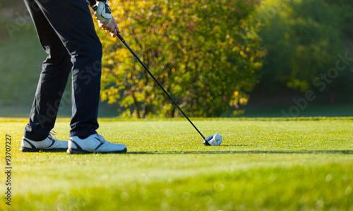 Plakat Zakończenie mężczyzna bawić się golfa na zielonym kursie