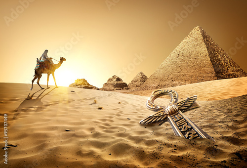 Poster Chameau Pyramids and ankh