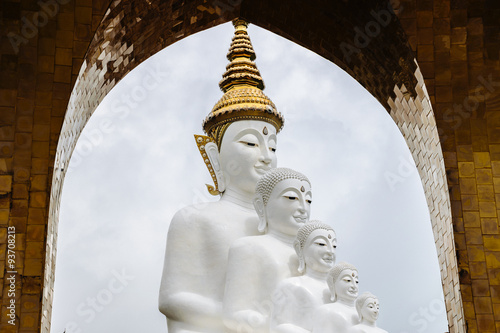 White Buddha Statue with arch frame - Buy this stock photo and ...