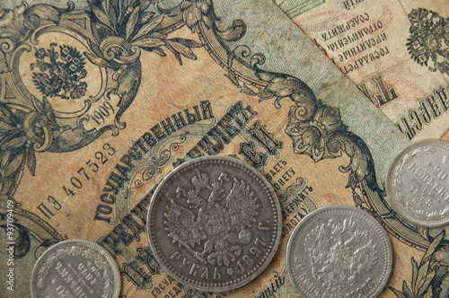 Fotografie, Obraz  The ancient Russian, silver coins and old banknotes times of Tsa