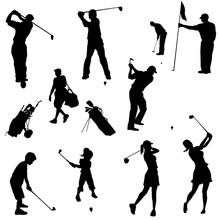 Golf Family Silhouettes
