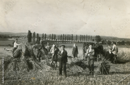 Valokuvatapetti farmer harvest old photo