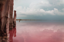 Storm Clouds Over The Salty Pink Lake