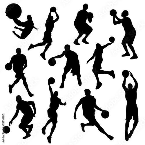 Photo  vector basketball players in silhouettes