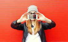 Hipster Cool Girl Taking Pictu...