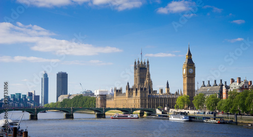 Fotografie, Obraz The Palace of Westminster Big Ben at sunny day, London, England,