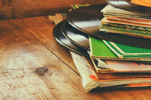 Records Stack With Record On T...