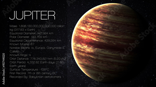 Valokuvatapetti Jupiter - High resolution Infographic presents one of the solar