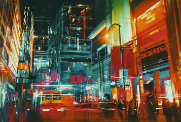 Fototapeta Industrialny city street at night with colorful lights,digital painting