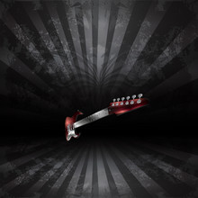 Electric Guitar In Perspective On A Dark Background