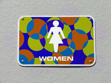 Colorful Women Restroom Sign