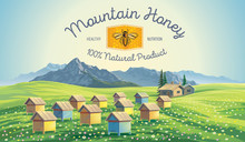 Bee Apiary In The Mountains. Mountain Landscape.