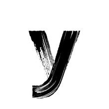 Letter Y Hand Drawn With Dry Brush. Lowercase
