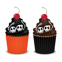 Halloween Cupcakes With Skeleton, Spider Webs And Cherry. Cute Cupcakes For The Halloween Party, Vector Illustration.