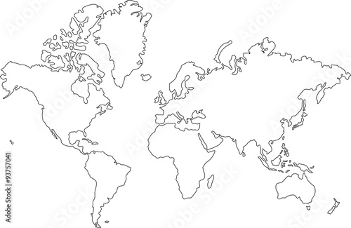 Photo sur Toile Carte du monde Freehand world map sketch on white background.