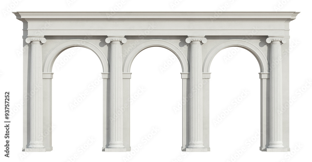 Fototapety, obrazy: Ionic colonnade on white