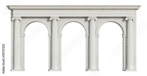 Leinwand Poster Ionic colonnade on white
