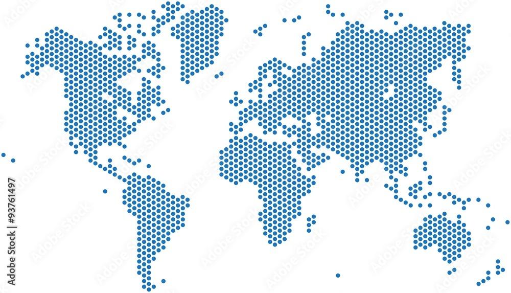 Fototapety, obrazy: Dots world map on white background, vector illustration.