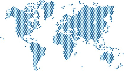 Fototapeta na wymiar Dots world map on white background, vector illustration.