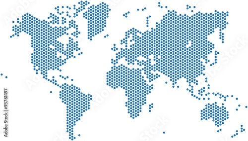 Dots world map on white background, vector illustration.