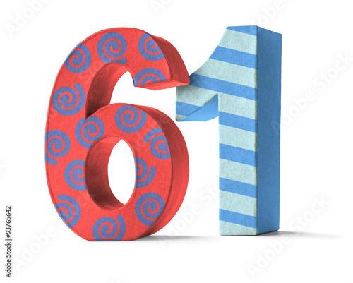 Fotografia  Bunte Zahl aus Pappe - Nummer 61