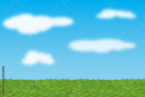 Fotografie, Obraz  Sfondo prato e cielo